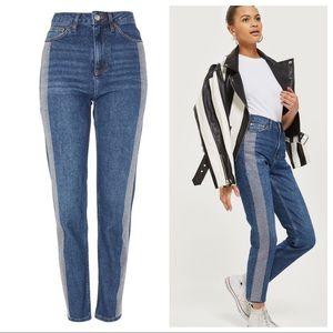 Topshop Diamanté Striped Straight Leg Moto Jeans